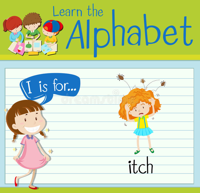 Flashcard alphabet I is for itch. Illustration stock illustration