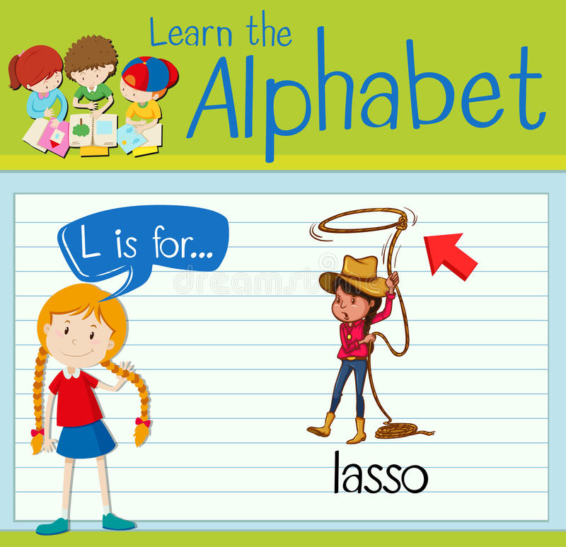 Flashcard alphabet L is for lasso. Illustration royalty free illustration