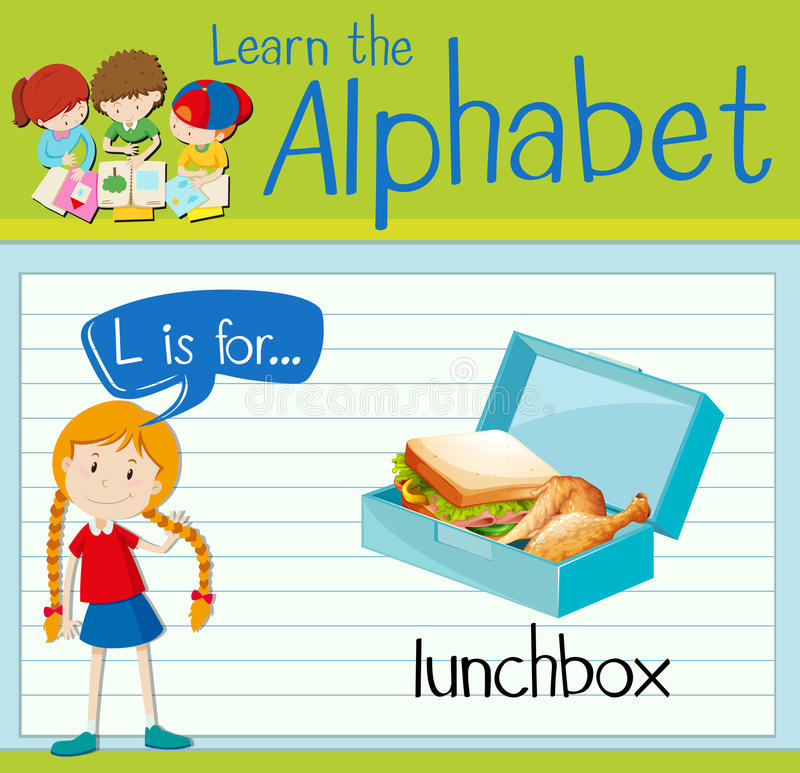 Flashcard alphabet L is for lunchbox. Illustration stock illustration