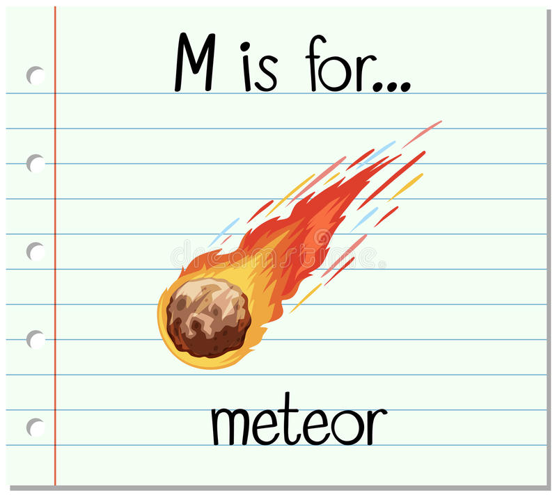Flashcard alphabet M is for meteor. Illustration royalty free illustration