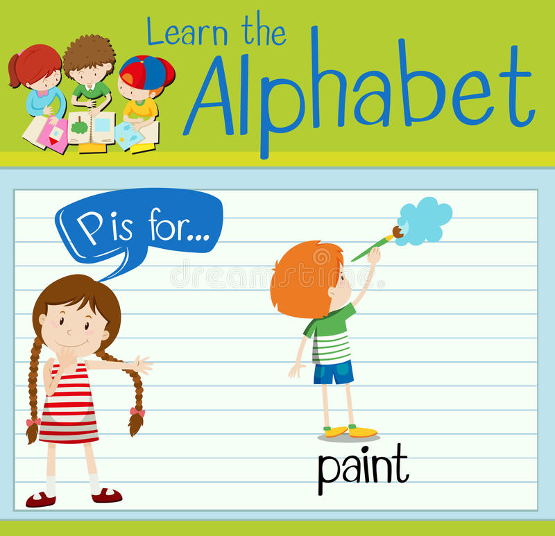 Flashcard alphabet P is for paint. Illustration stock illustration