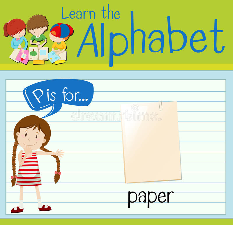 Flashcard alphabet P is for paper. Illustration royalty free illustration