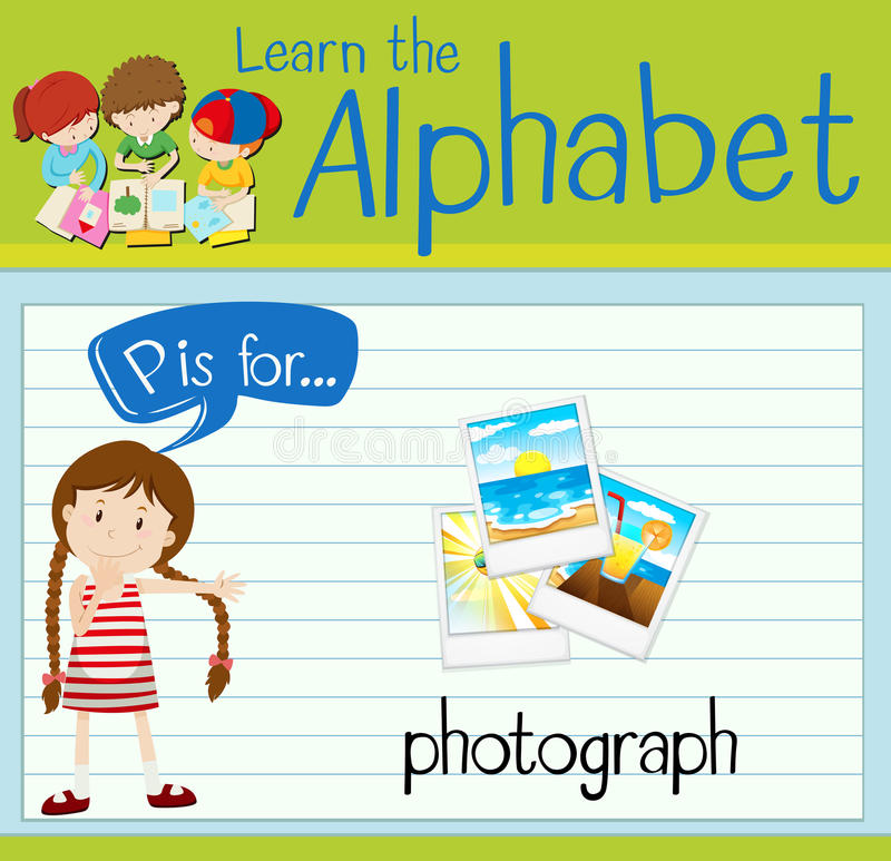 Flashcard alphabet P is for photograph. Illustration royalty free illustration