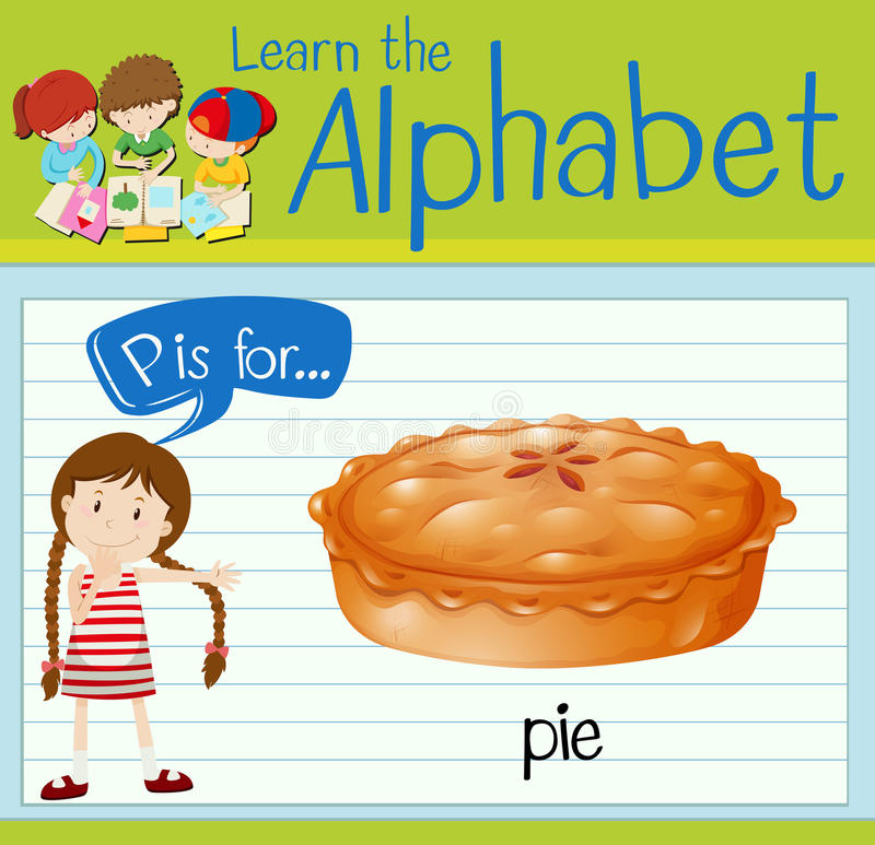 Flashcard alphabet P is for pie. Illustration stock illustration