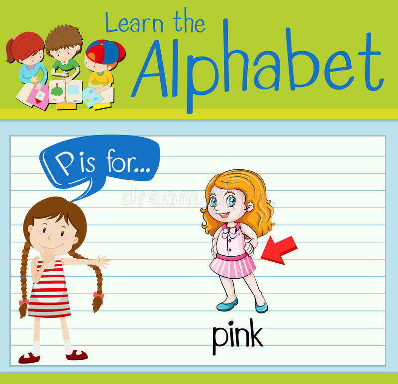 Flashcard alphabet P is for pink. Illustration vector illustration