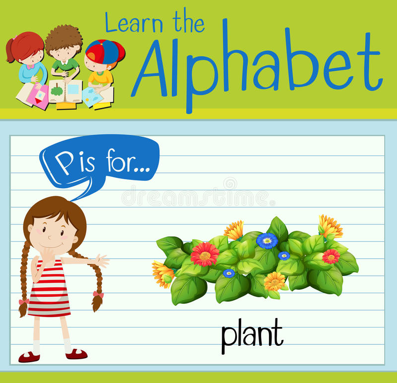 Flashcard alphabet P is for plant. Illustration royalty free illustration