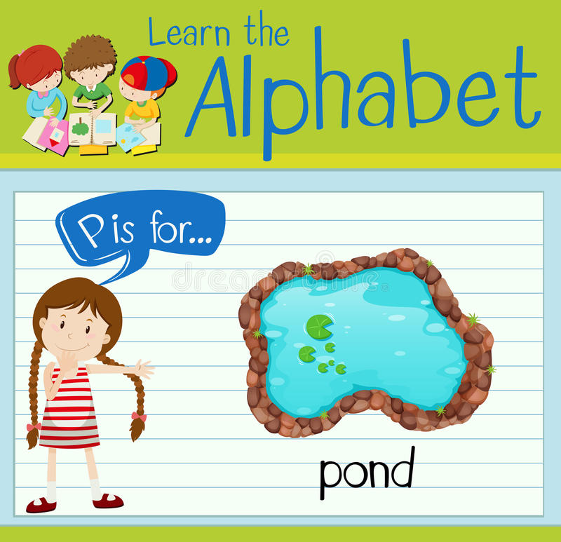 Flashcard alphabet P is for pond. Illustration royalty free illustration
