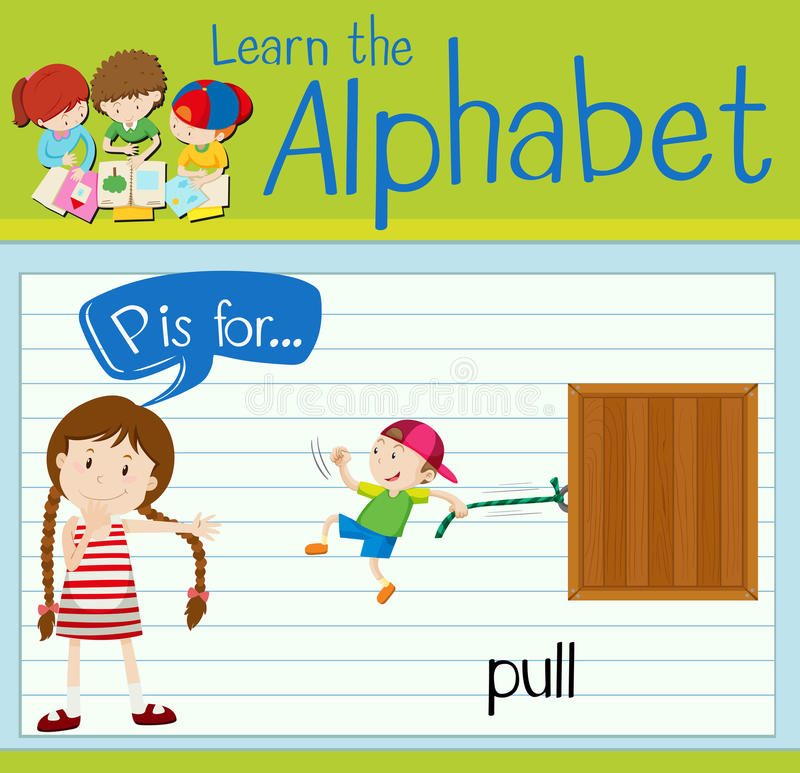 Flashcard alphabet P is for pull. Illustration stock illustration