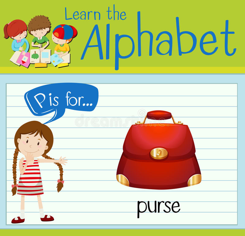 Flashcard alphabet P is for purse. Illustration royalty free illustration