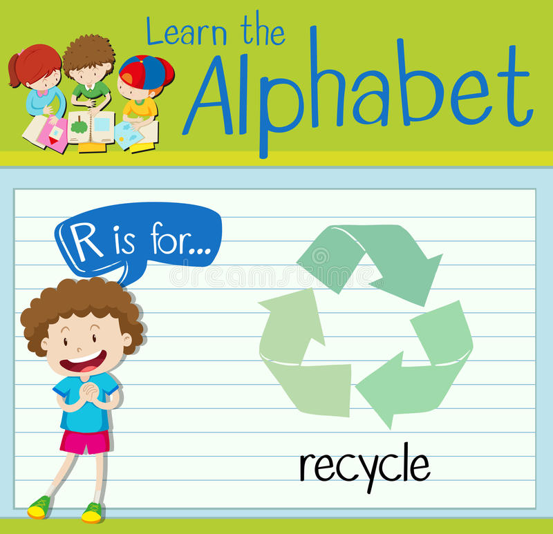 Flashcard alphabet R is for recycle. Illustration royalty free illustration