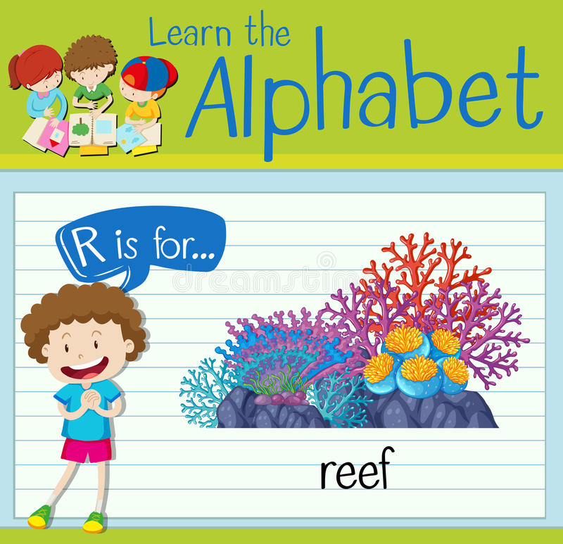 Flashcard alphabet R is for reef. Illustration royalty free illustration