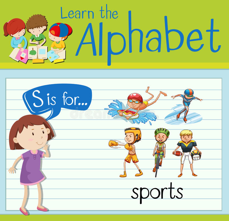 Flashcard alphabet S is for sports. Illustration stock illustration