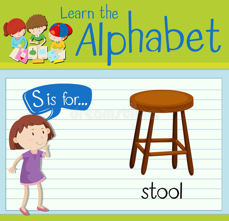 Flashcard alphabet S is for stool. Illustration royalty free illustration