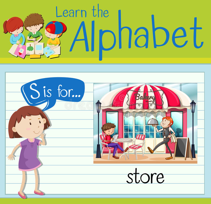 Flashcard alphabet S is for store. Illustration vector illustration