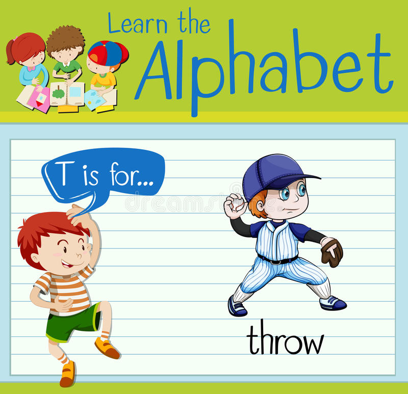 Flashcard alphabet T is for throw. Illustration royalty free illustration