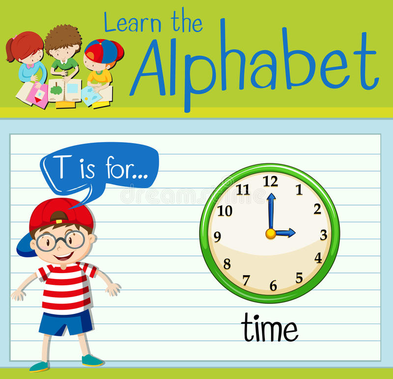 Flashcard alphabet T is for time. Illustration royalty free illustration