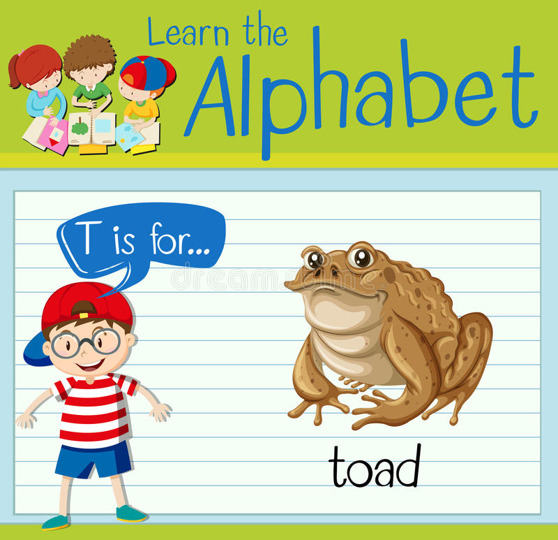 Flashcard alphabet T is for toad. Illustration stock illustration