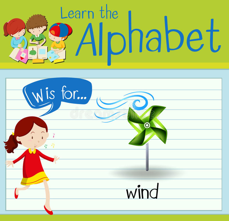 Flashcard alphabet W is for wind. Illustration stock illustration