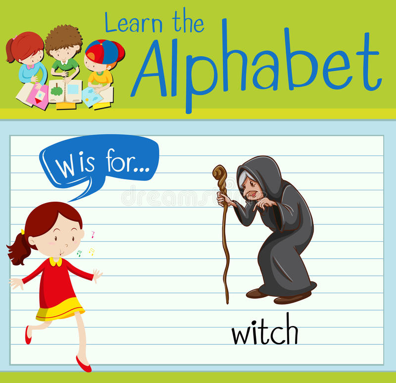 Flashcard alphabet W is for witch. Illustration vector illustration