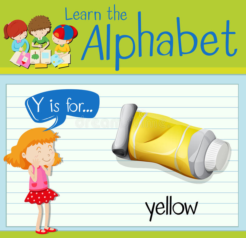 Flashcard alphabet Y is for yellow. Illustration royalty free illustration