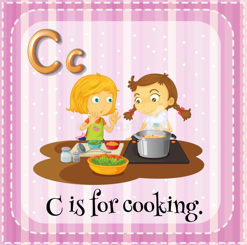 Flashcard av C är för att laga mat stock illustrationer