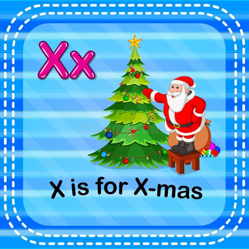Flashcard bokstav X är för x-mas royaltyfri illustrationer