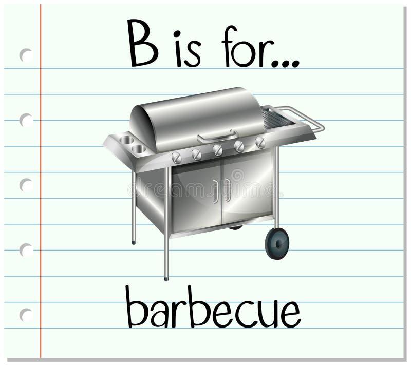 Flashcard bokstav B är för grillfest royaltyfri illustrationer
