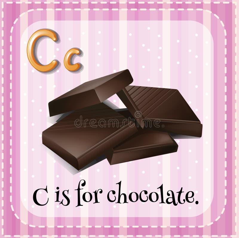 Flashcard bokstav C är för choklad royaltyfri illustrationer