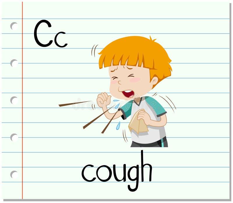 Flashcard bokstav C är för hosta vektor illustrationer