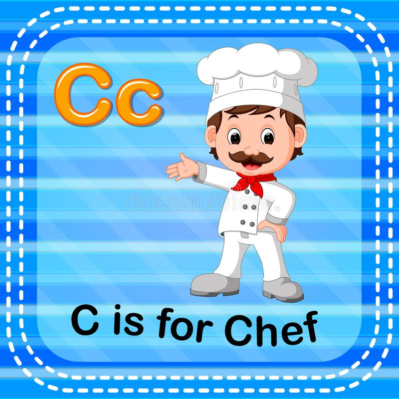Flashcard bokstav C är för kock stock illustrationer