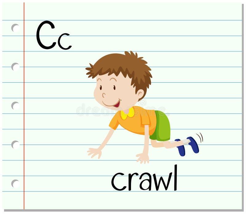 Flashcard bokstav C är för krypande royaltyfri illustrationer