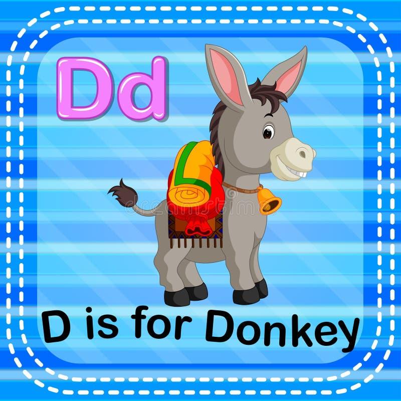 Flashcard bokstav D är för åsna stock illustrationer