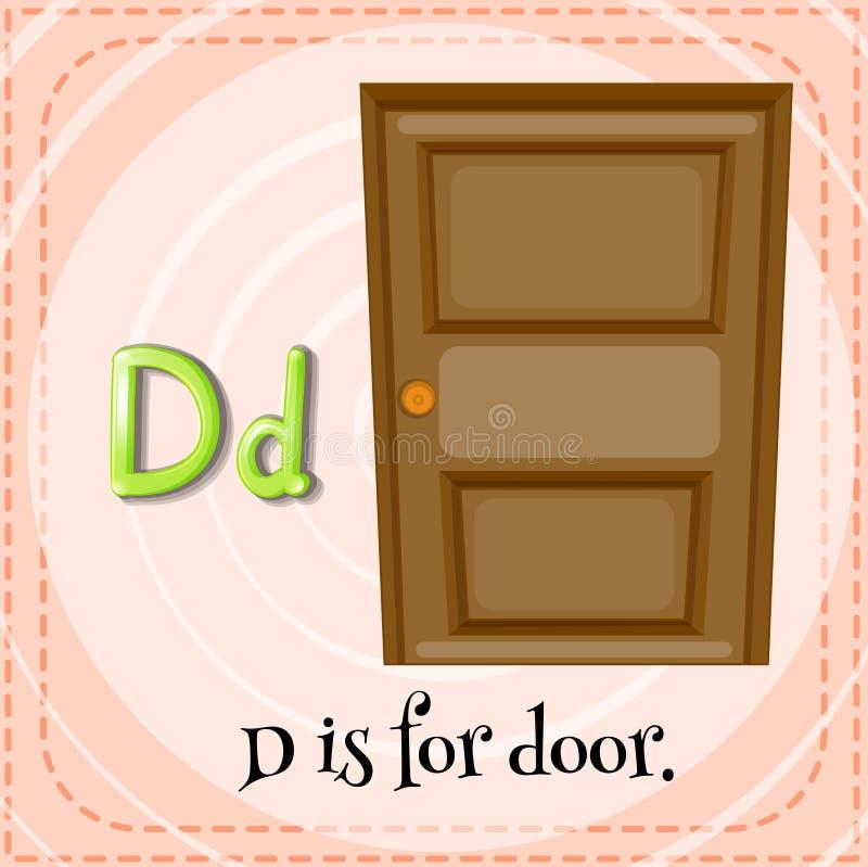Flashcard bokstav D är för dörr stock illustrationer