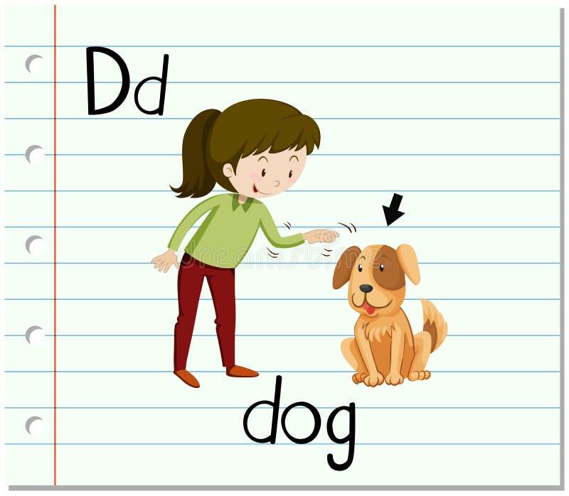 Flashcard bokstav D är för hund vektor illustrationer