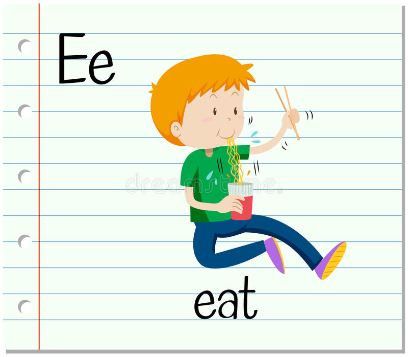 Flashcard bokstav E är för äter stock illustrationer