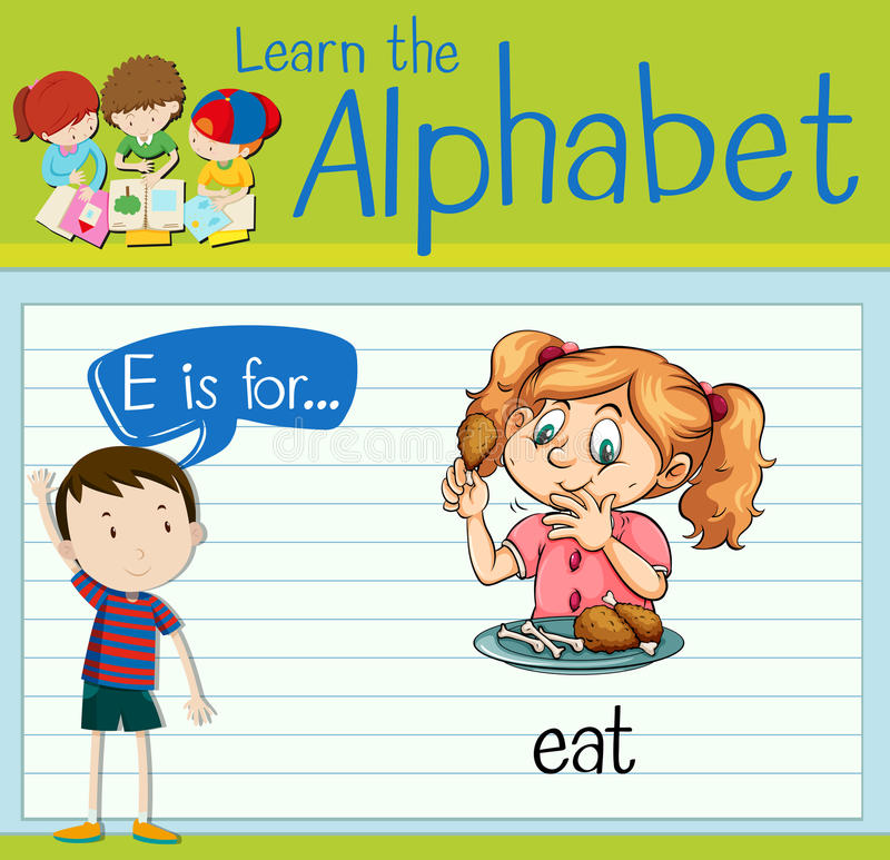 Flashcard bokstav E är för äter vektor illustrationer