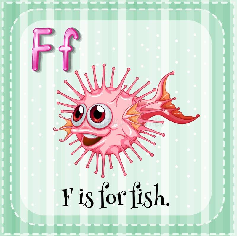 Flashcard bokstav F är för fisk vektor illustrationer