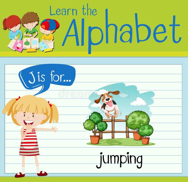 Flashcard bokstav J är för att hoppa stock illustrationer