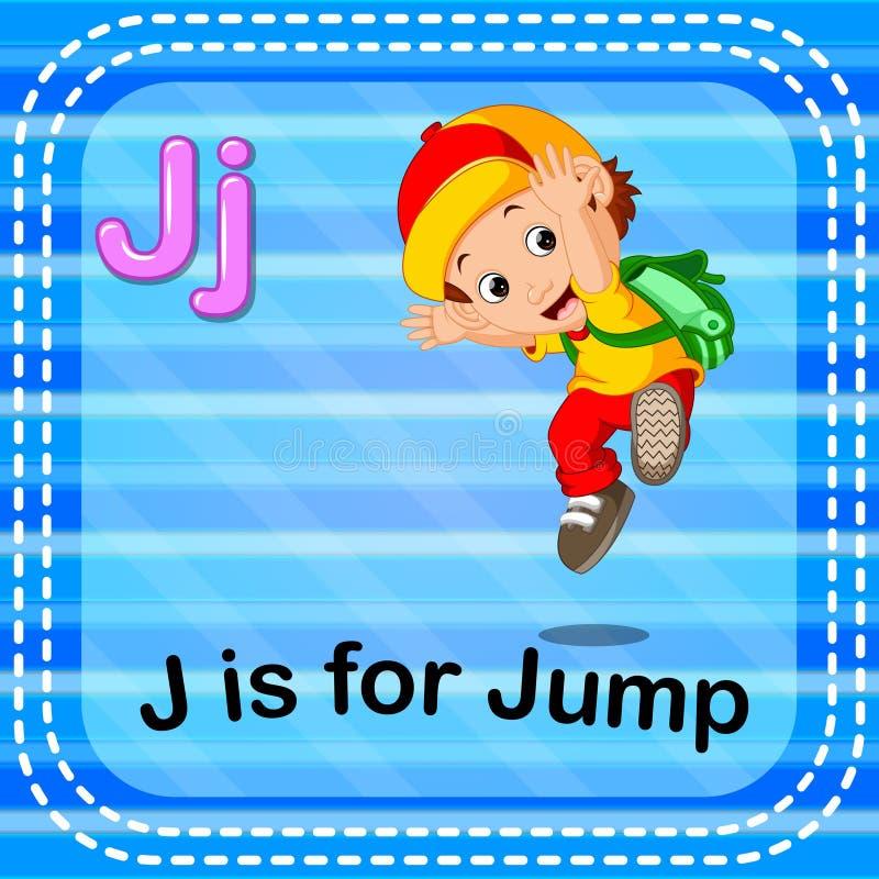 Flashcard bokstav J är för hopp stock illustrationer
