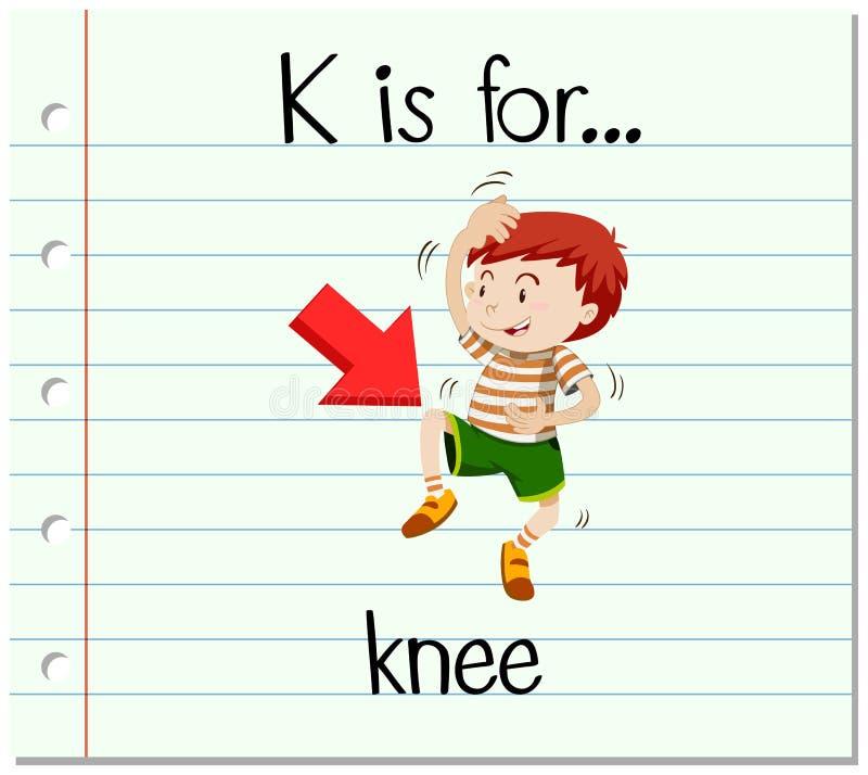 Flashcard bokstav K är för knä stock illustrationer