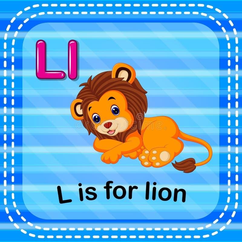 Flashcard bokstav L är för lejon vektor illustrationer
