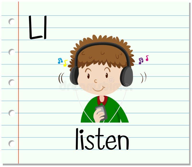 Flashcard bokstav L är för lyssnar stock illustrationer
