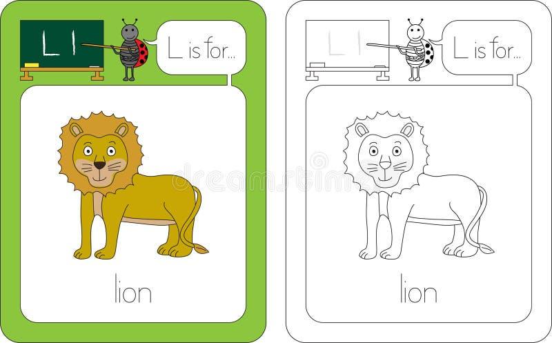 Flashcard bokstav L vektor illustrationer