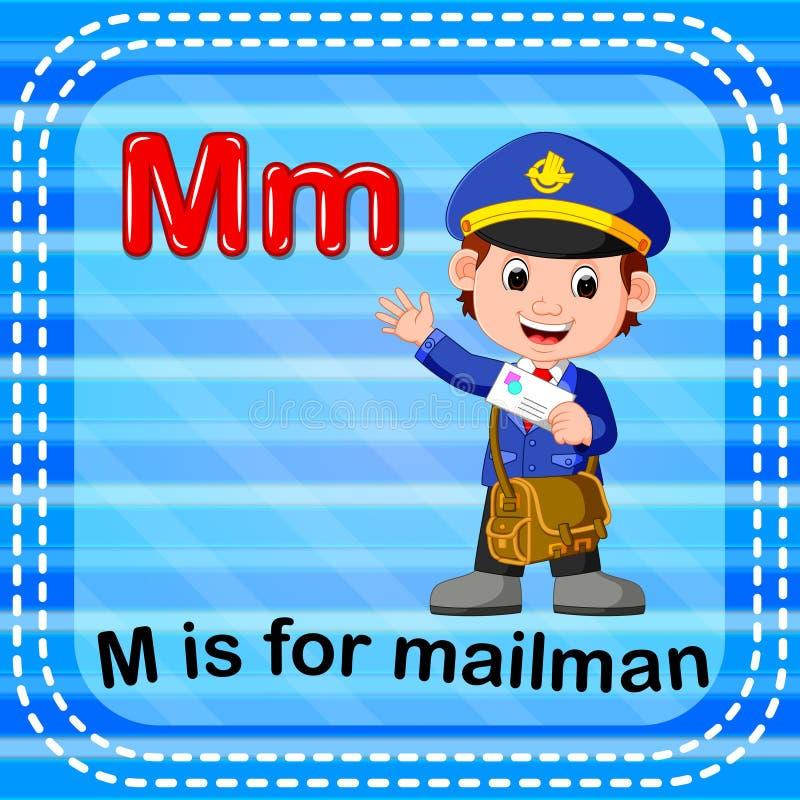 Flashcard bokstav M är för brevbärare royaltyfri illustrationer