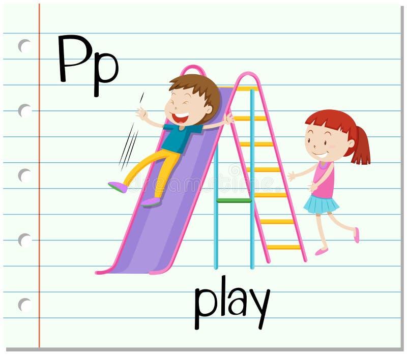 Flashcard bokstav P är för lek vektor illustrationer