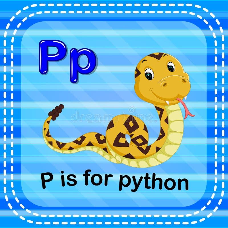 Flashcard bokstav P är för pytonorm royaltyfri illustrationer
