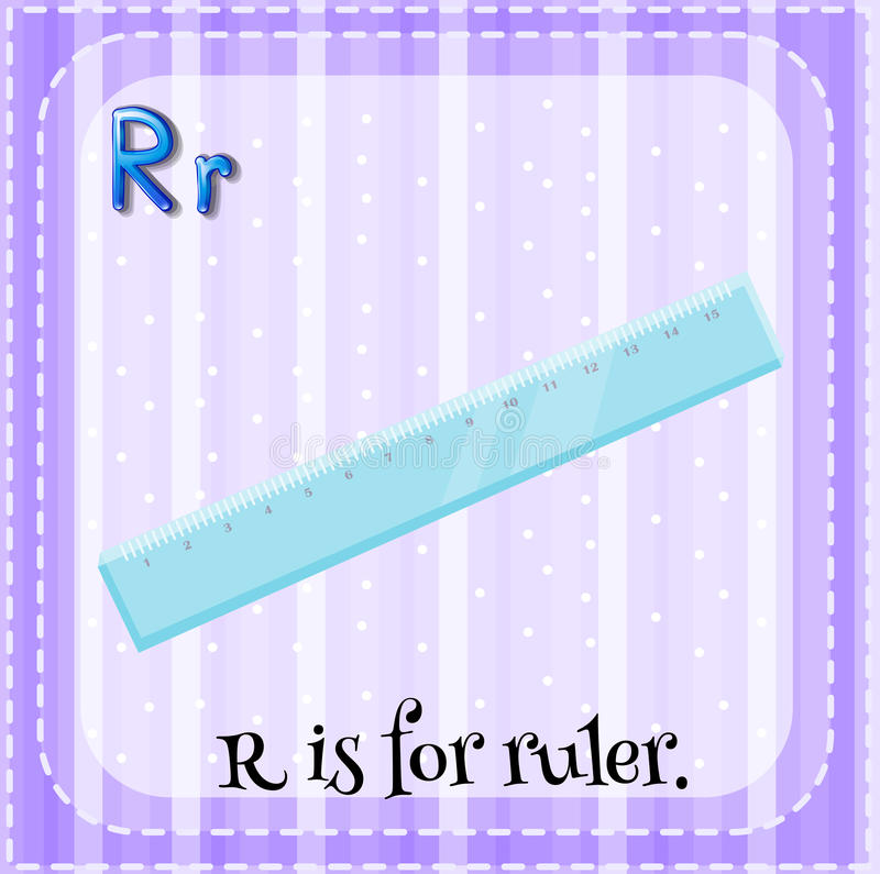 Flashcard bokstav R är för linjal stock illustrationer