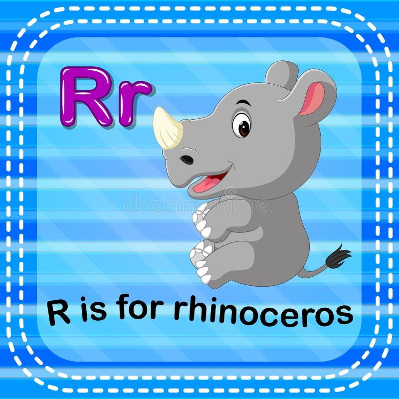 Flashcard bokstav R är för noshörning stock illustrationer