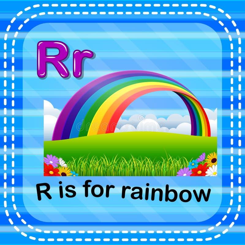 Flashcard bokstav R är för regnbåge stock illustrationer