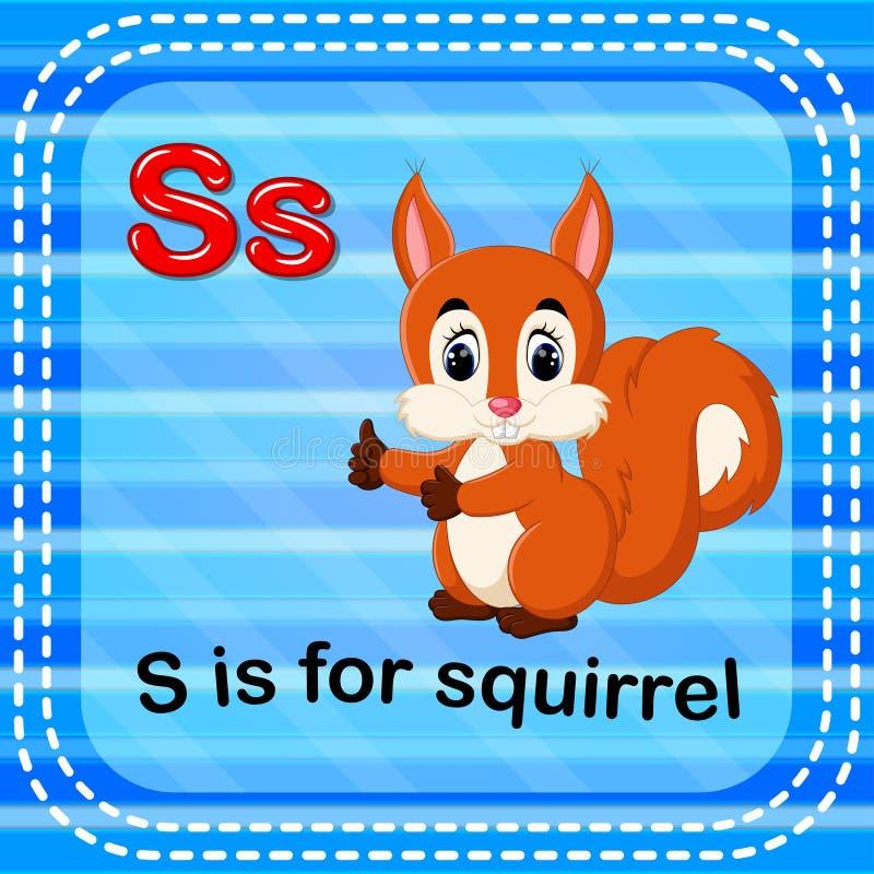 Flashcard bokstav S är för ekorre royaltyfri illustrationer